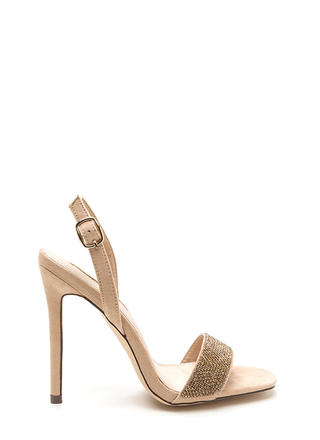 Keep Gleaming Strappy Faux Suede Heels