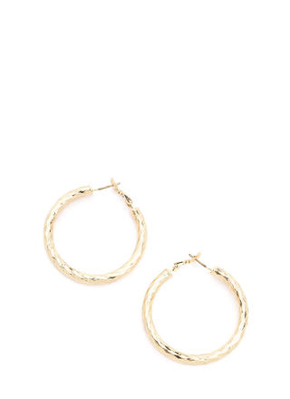 Subtle Twist Shiny Hoop Earrings