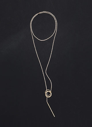 New Direction Rhinestone Lariat Necklace
