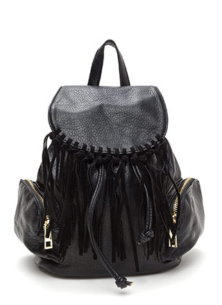 Fringe Feels Faux Leather Mini Backpack