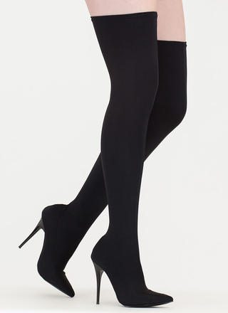 Pull Me Up Pointy Thigh-High Boots
