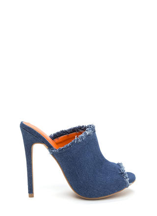 Fan Of Fringed Denim Mule Heels