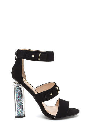 Sparkly Personality Clear Chunky Heels