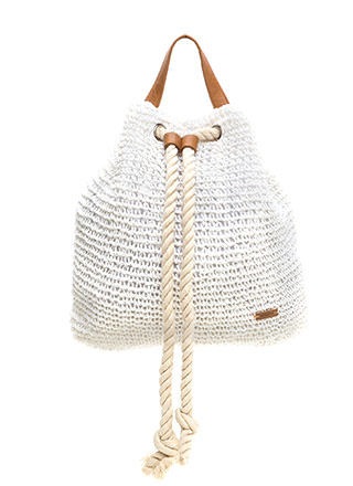 Beach Bum Woven Drawstring Backpack