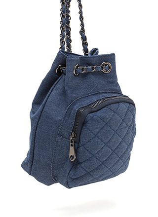 Style Genius Quilted Denim Mini Backpack