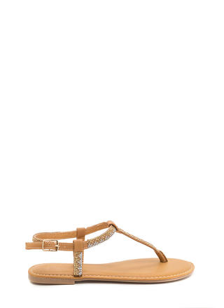 Glitz A Hit Faux Leather T-Strap Sandals