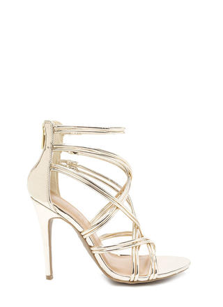 New Cage Metallic Stiletto Heels
