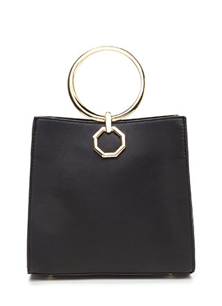 Square Away Faux Leather Ring Bag