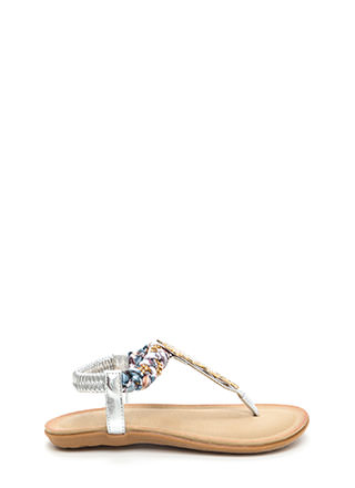True Gem Metallic T-Strap Sandals