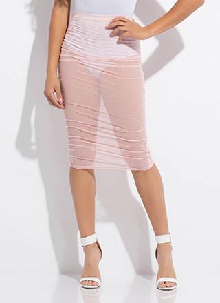 See Thru It All Ruched Sheer Mesh Skirt