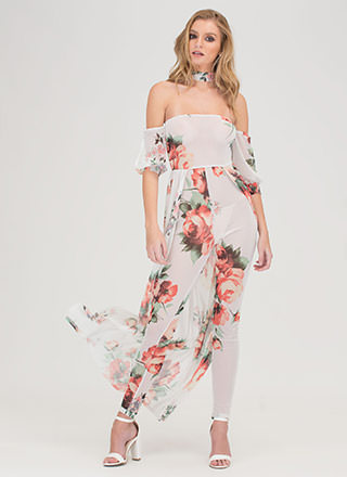 Budding Romance Sheer Off-Shoulder Maxi