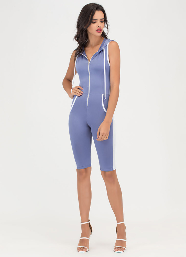 Sporting Chance Striped Hooded Jumpsuit