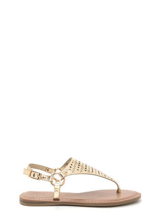 Shape Up Perforated Metallic Sandals