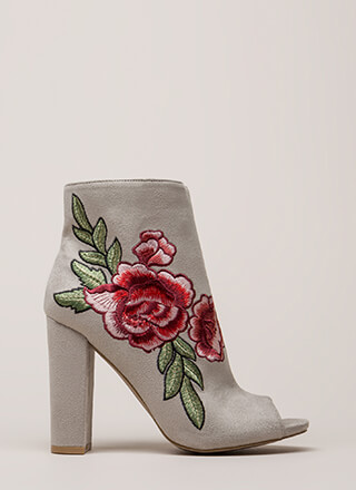 Blooms Away Chunky Faux Suede Booties