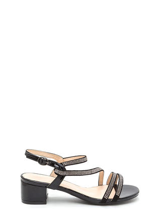 Bling It Up Strappy Faux Leather Heels