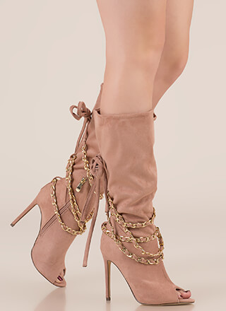 New Chain-ge Tied Faux Suede Boots