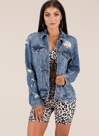 Girl Gang Distressed Denim Jacket
