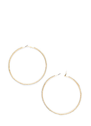 Set The Trend Rhinestone Hoop Earrings