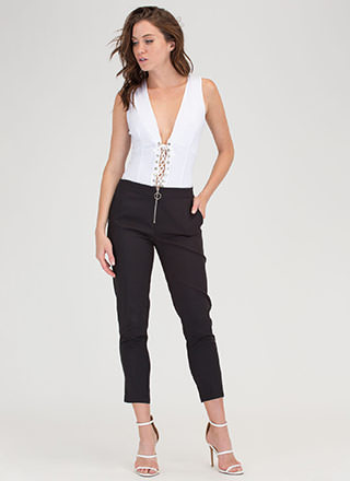 Ring It On Zippered Cropped Trousers