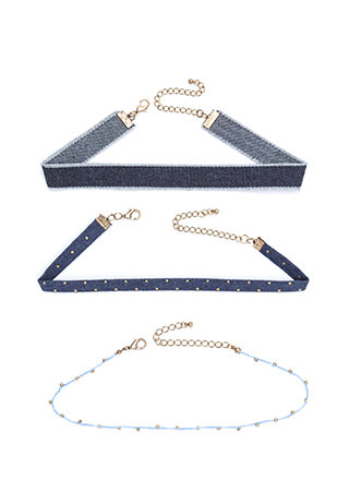 Studs In Denim Choker Trio