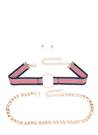Go On Stripes Chain 'N Choker Set