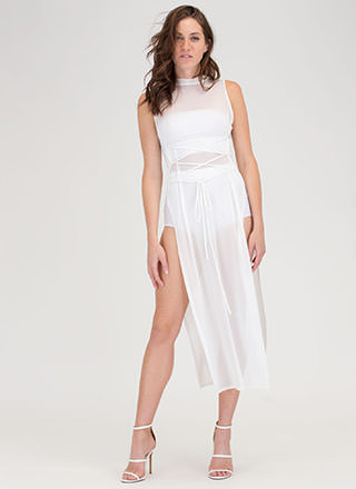Hot Mesh Lace-Up Double Slit Maxi