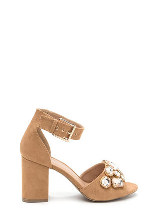 Chunky Jewelry Faux Suede Block Heels