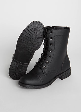 Ready To Go Lace-Up Combat Boots
