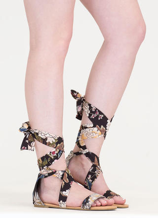 More Flower To You Lace-Up Sandals