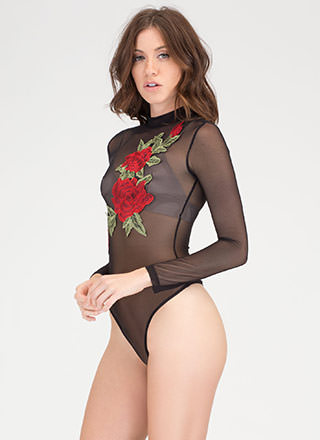 Big Bouquet Mesh Thong Bodysuit