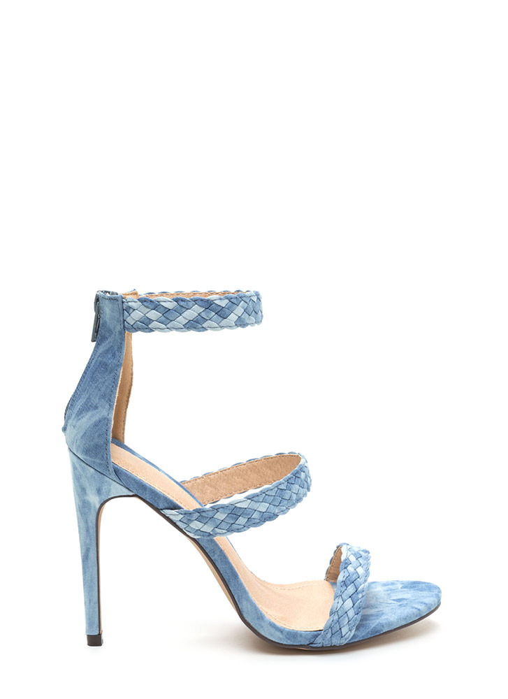 Weave A Tale Triple Strap Denim Heels