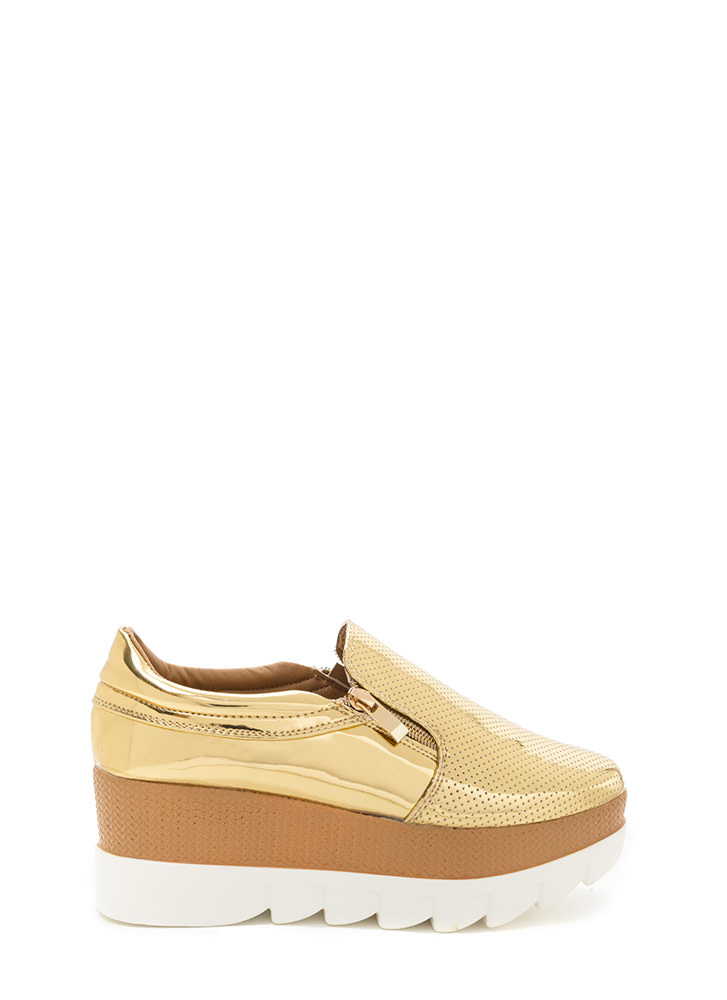 Zips Are Sealed Metallic Platform Wedges