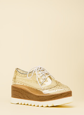 Clear View Platform Oxford Wedges