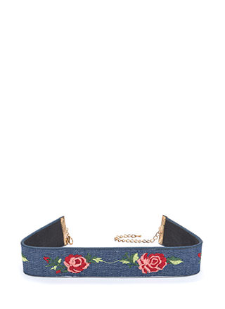 Finest Flower Embroidered Denim Choker