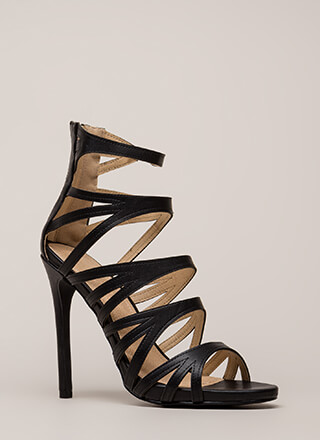 Set Off A Flare Strappy Cut-Out Heels