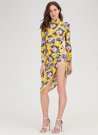 Floral Story High-Cut Asymmetrical Dress