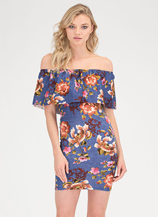 Flower Trip Off-Shoulder Mini Dress