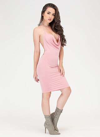 Night Cowl Draped Halter Dress