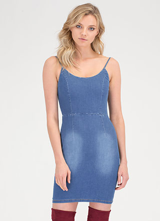 Washed Away Open Back Denim Dress