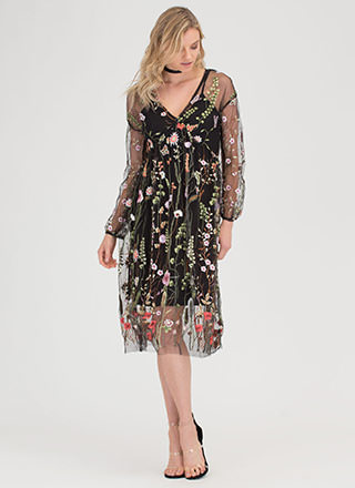 Floral Aura Sheer Embroidered Dress