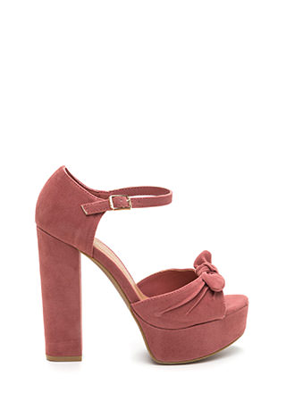 Bow Yes Faux Suede Chunky Heels
