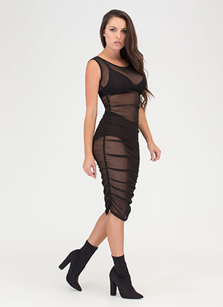 Ruche By Sheer Mesh Midi Dress