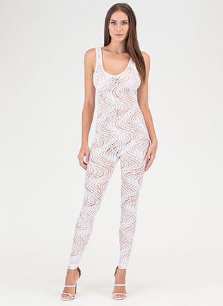 On The Hole Sheer Plunging Jumpsuit