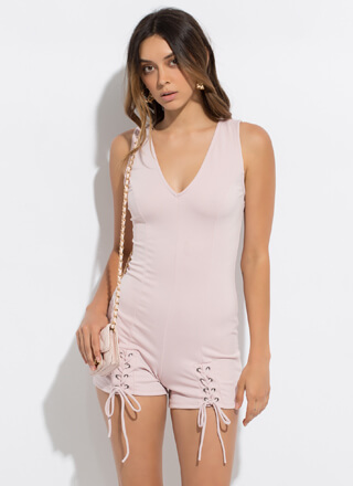Effortless Style Lace-Up Romper