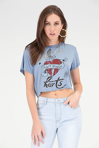 Love Hurts Graphic Heart Tie-Back Top