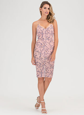 Garden Walk Sheer Plunging Midi Dress