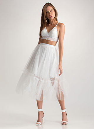 Sheer Glam Flared Maxi Skirt