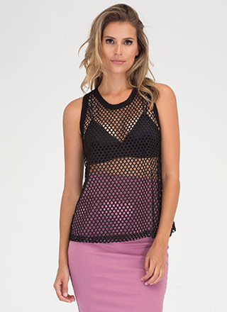 Net Profit Sheer Racerback Tank Top