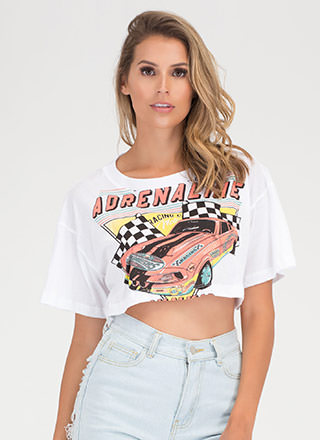 Nascar Visit Graphic Crop Tee