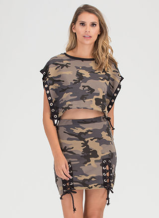 Cute Cadet Lace-Up Camo Two-Piece Dress